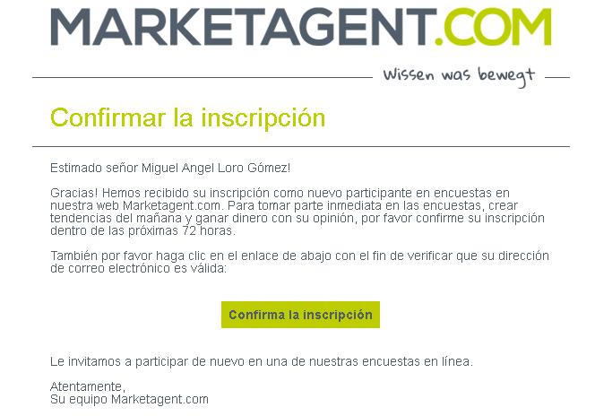 mail de confirmación marketagent