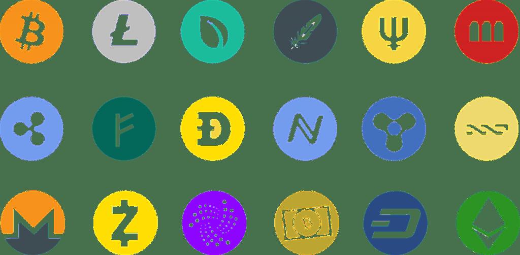todos los iconos de las criptomonedas