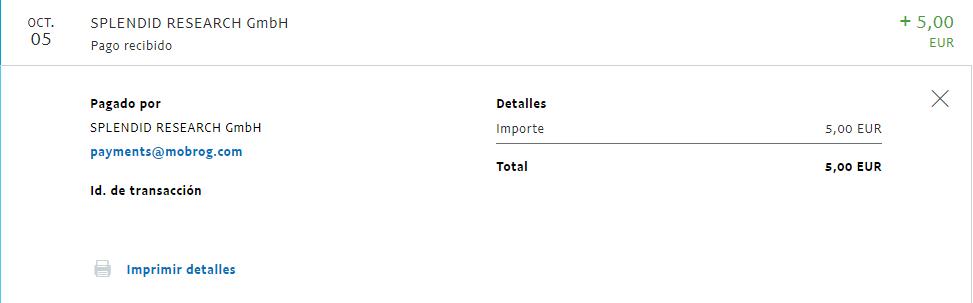 último pago en esta página web