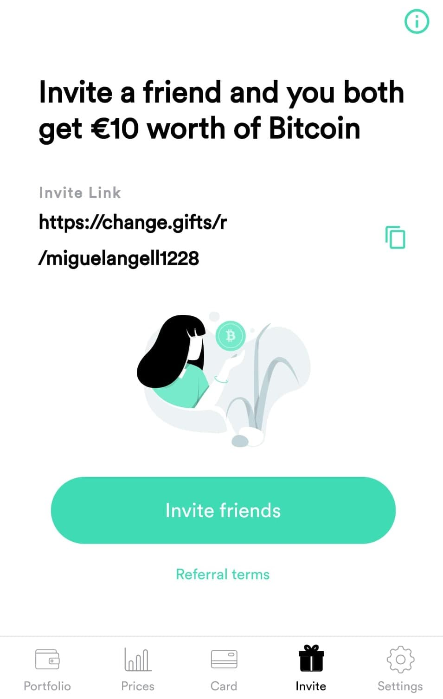 invita a un amigo en change wallet