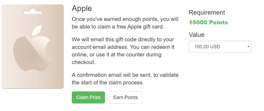 point prizes tarjetas itune gratis